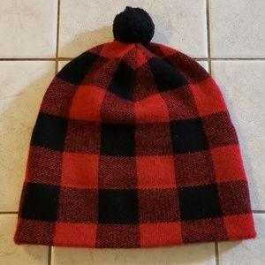 Ralph Ralph Lauren Red Black Plaid Beanie Winter